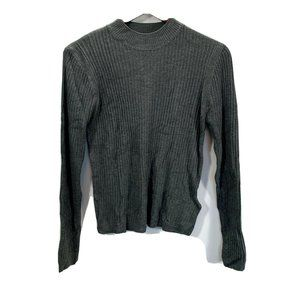 Topshop Funnel Ribbed Knit Sweater Mock Neck Gray